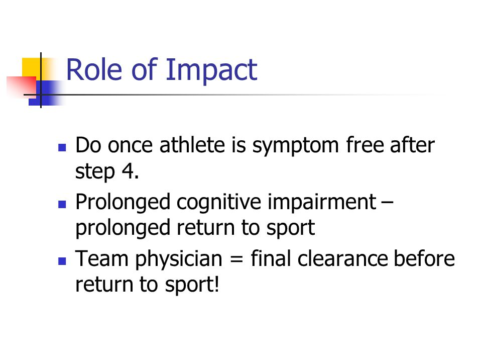 Role of Impact Do once athlete is symptom free after step 4.