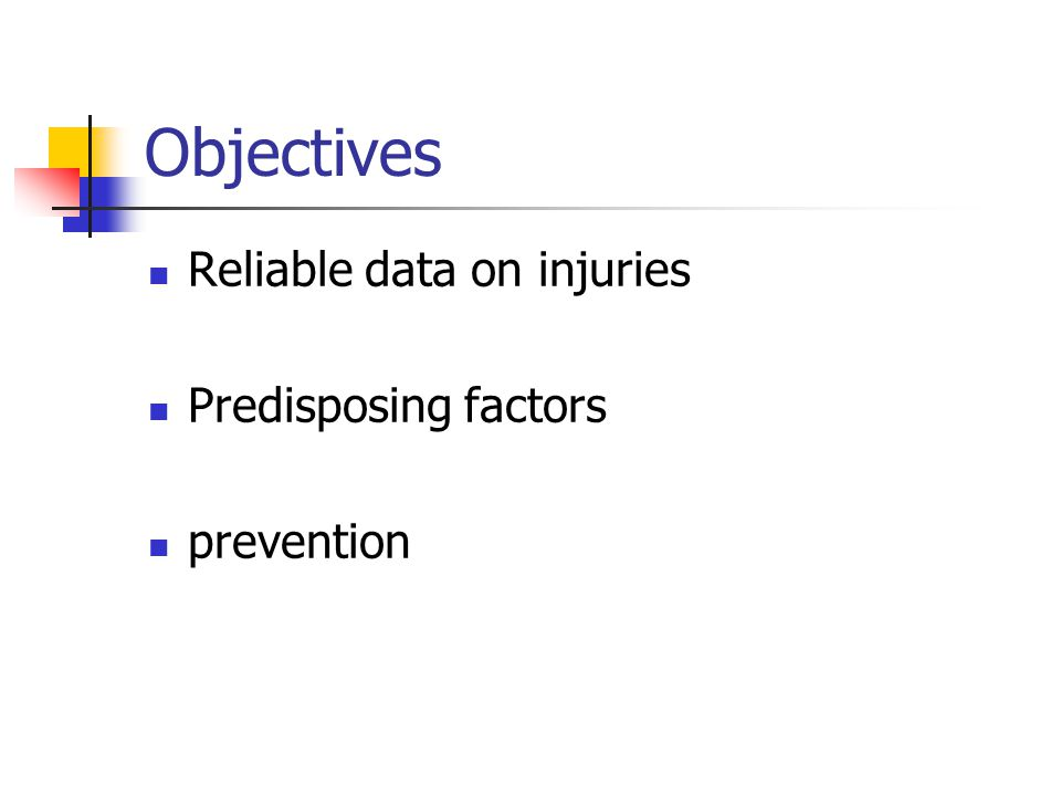 Objectives Reliable data on injuries Predisposing factors prevention