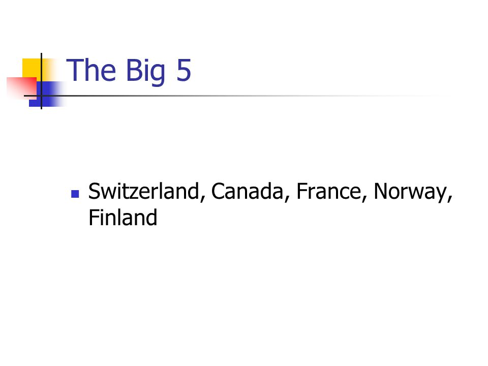 The Big 5 Switzerland, Canada, France, Norway, Finland
