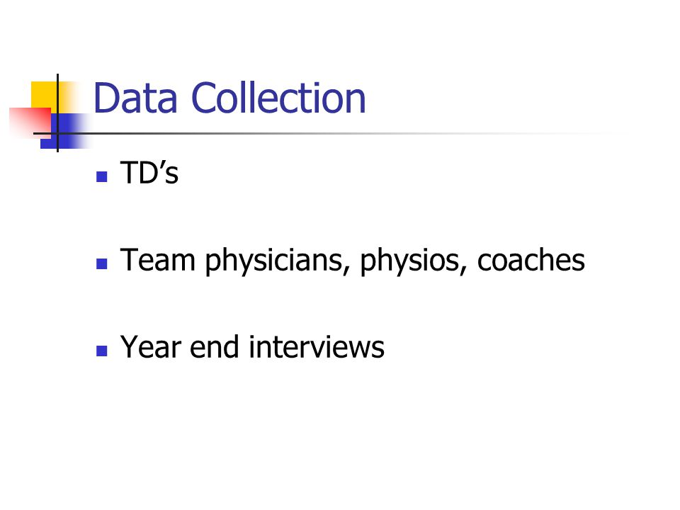 Data Collection TD's Team physicians, physios, coaches Year end interviews