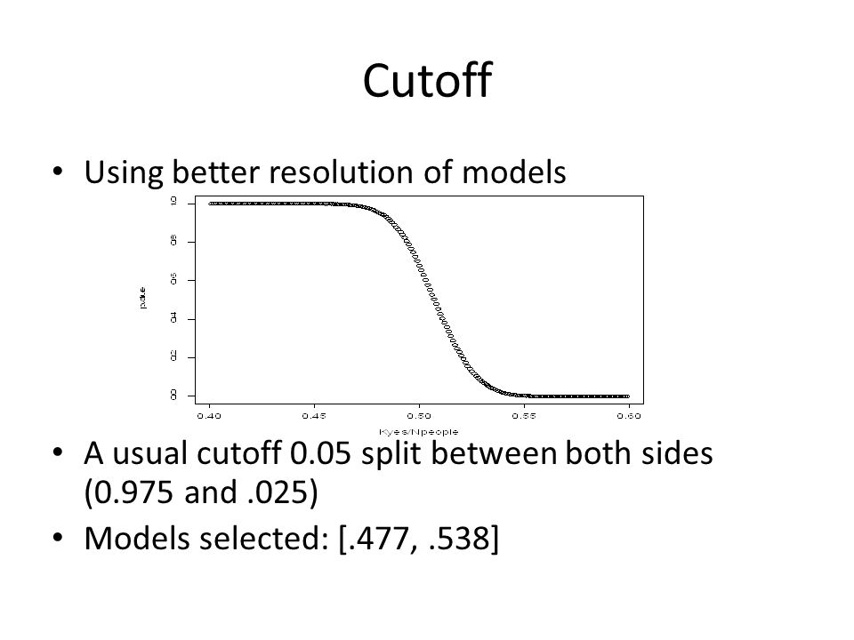 Cutoff Using better resolution of models A usual cutoff 0.05 split between both sides (0.975 and.025) Models selected: [.477,.538]