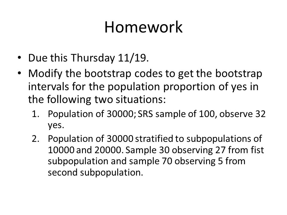 Homework Due this Thursday 11/19.