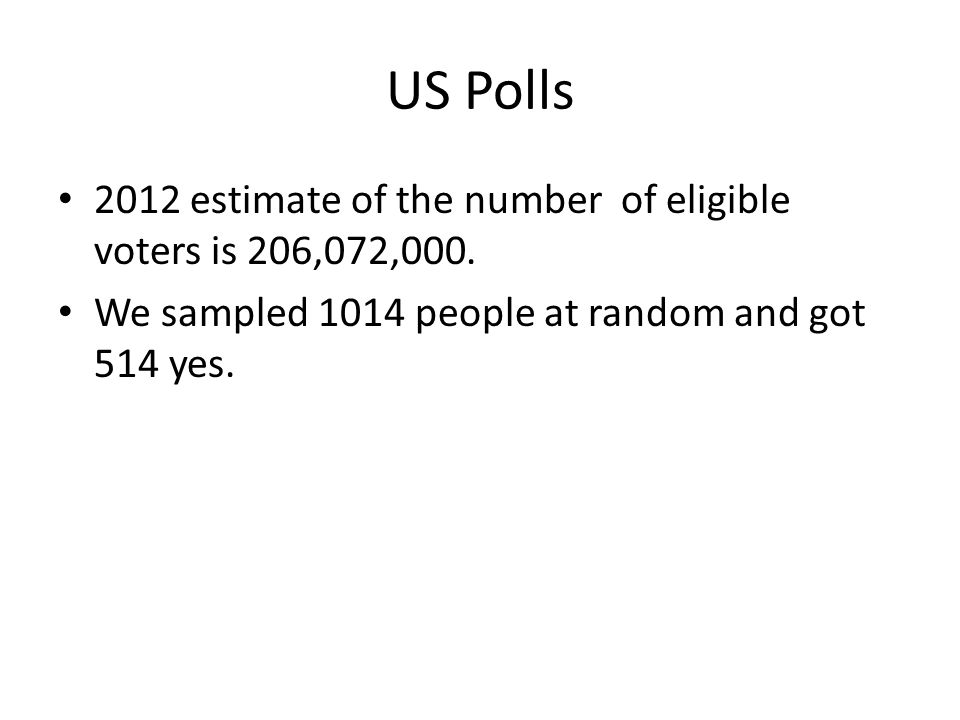 US Polls 2012 estimate of the number of eligible voters is 206,072,000.