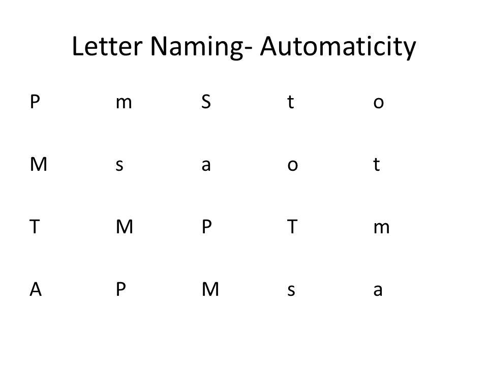 Letter Naming- Automaticity PMTAmsMPSaPMtoTsotmaPMTAmsMPSaPMtoTsotma