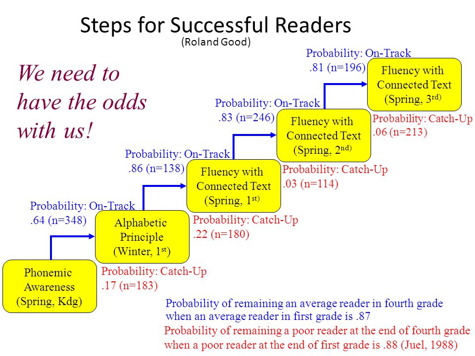 Steps for Successful Readers (Roland Good) Phonemic Awareness (Spring, Kdg) Fluency with Connected Text (Spring, 1 st) Alphabetic Principle (Winter, 1