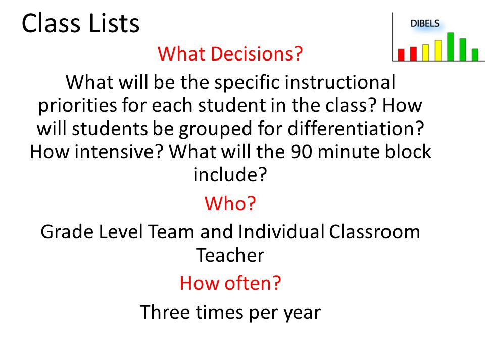 Class Lists What Decisions? What will be the specific instructional priorities for each student in the class? How will students be grouped for differe