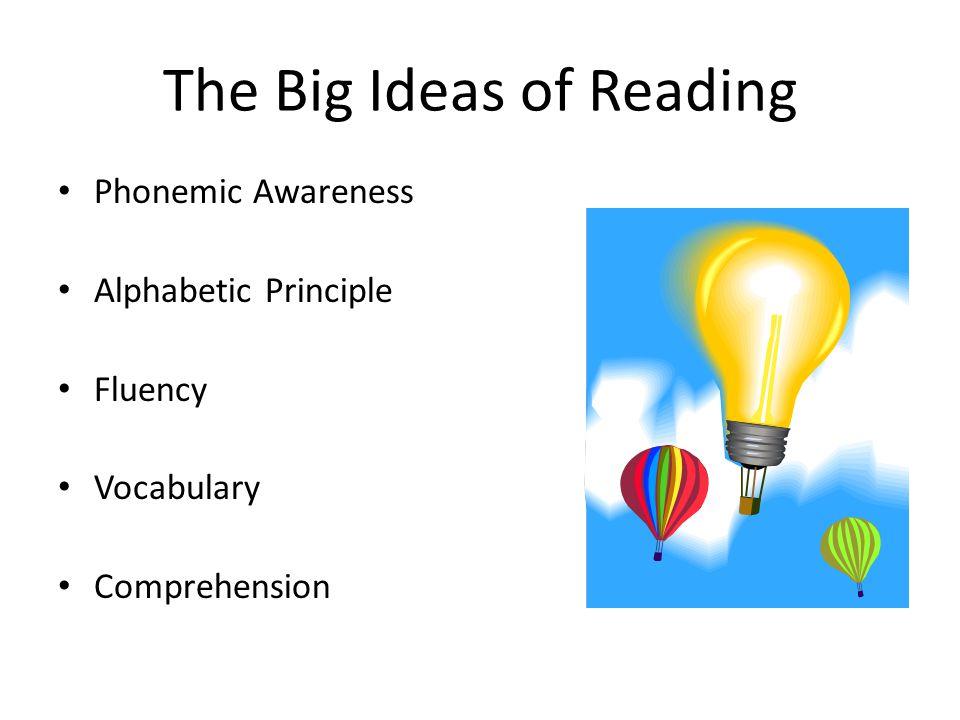 The Big Ideas of Reading Phonemic Awareness Alphabetic Principle Fluency Vocabulary Comprehension