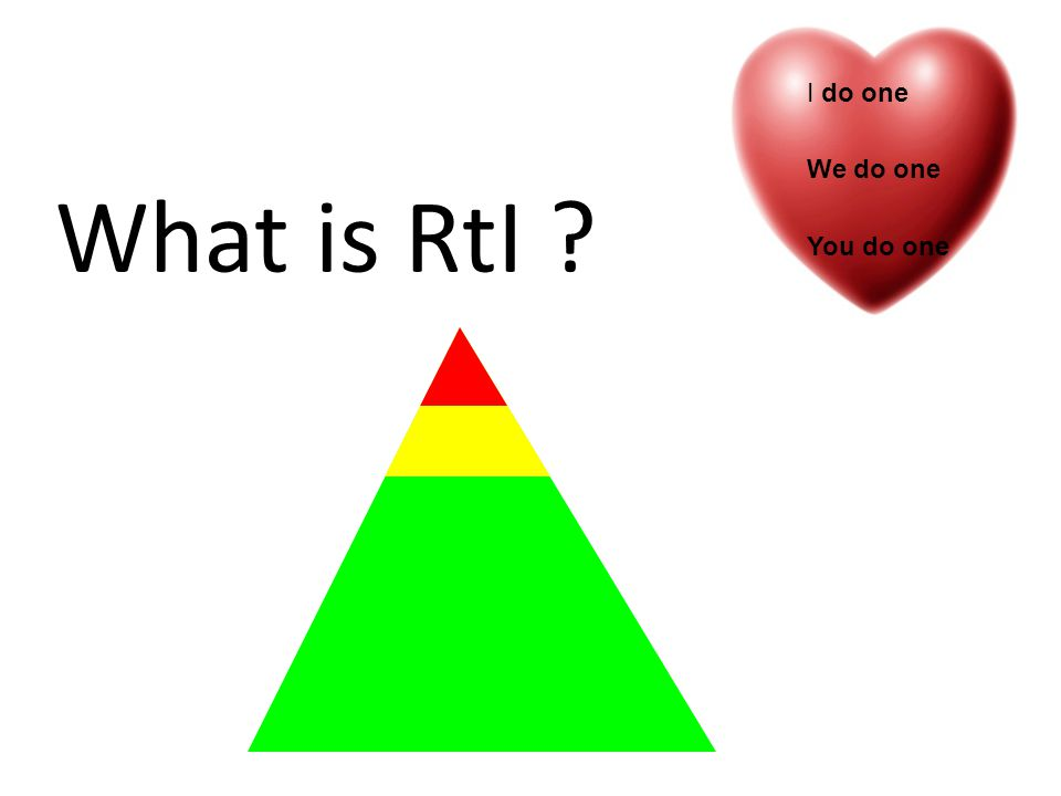 What is RtI ? I do one We do one You do one