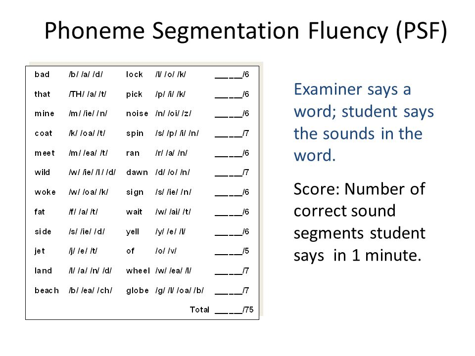 Phoneme Segmentation Fluency (PSF) Examiner says a word; student says the sounds in the word. Score: Number of correct sound segments student says in
