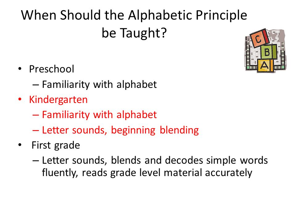 When Should the Alphabetic Principle be Taught? Preschool – Familiarity with alphabet Kindergarten – Familiarity with alphabet – Letter sounds, beginn
