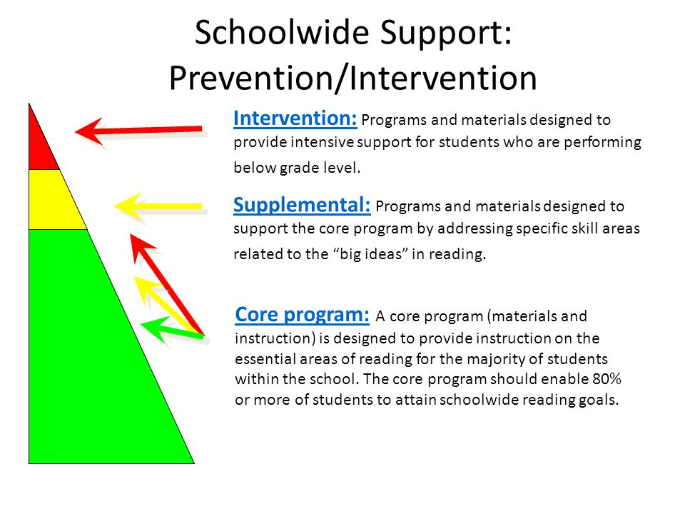 Schoolwide Support: Prevention/Intervention Supplemental: Programs and materials designed to support the core program by addressing specific skill are