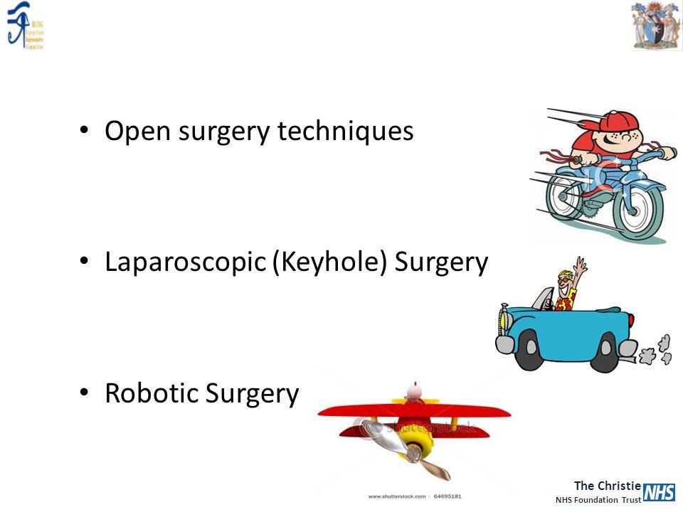The Christie NHS Foundation Trust Open surgery techniques Laparoscopic (Keyhole) Surgery Robotic Surgery