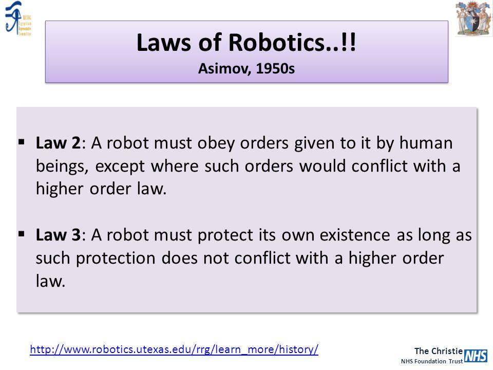 The Christie NHS Foundation Trust Laws of Robotics..!! Asimov, 1950s http://www.robotics.utexas.edu/rrg/learn_more/history/