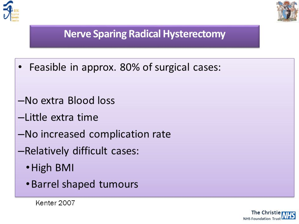 The Christie NHS Foundation Trust Feasible in approx. 80% of surgical cases: – No extra Blood loss – Little extra time – No increased complication rat