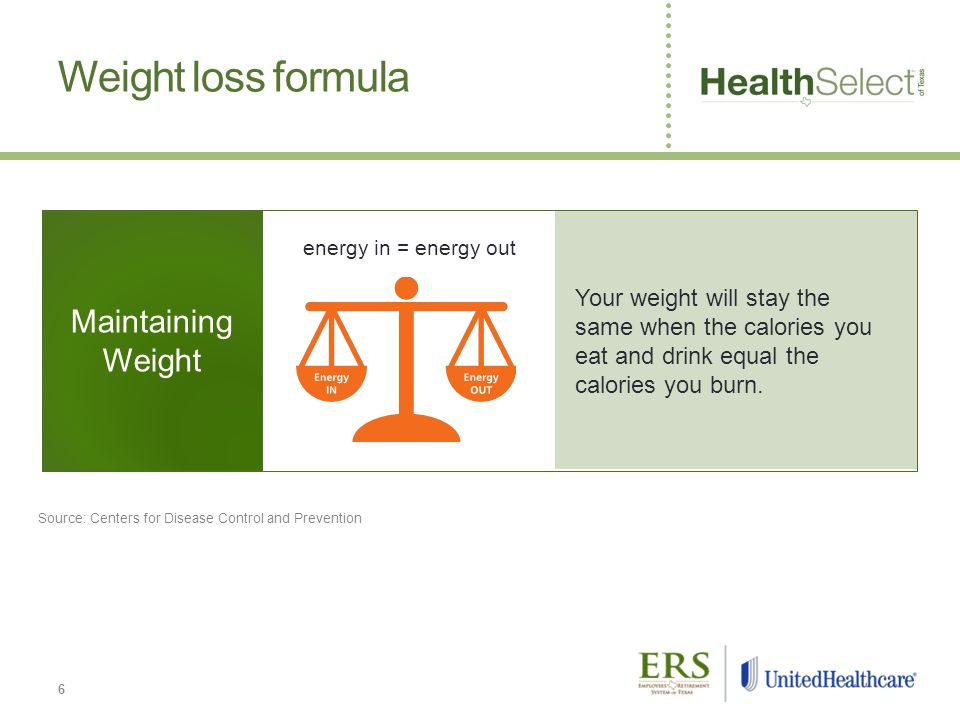 Your weight will stay the same when the calories you eat and drink equal the calories you burn.
