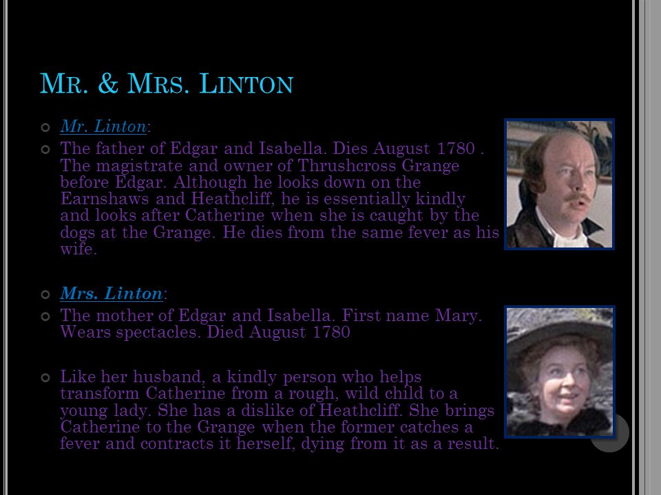 M R. & M RS. L INTON Mr. Linton : The father of Edgar and Isabella.