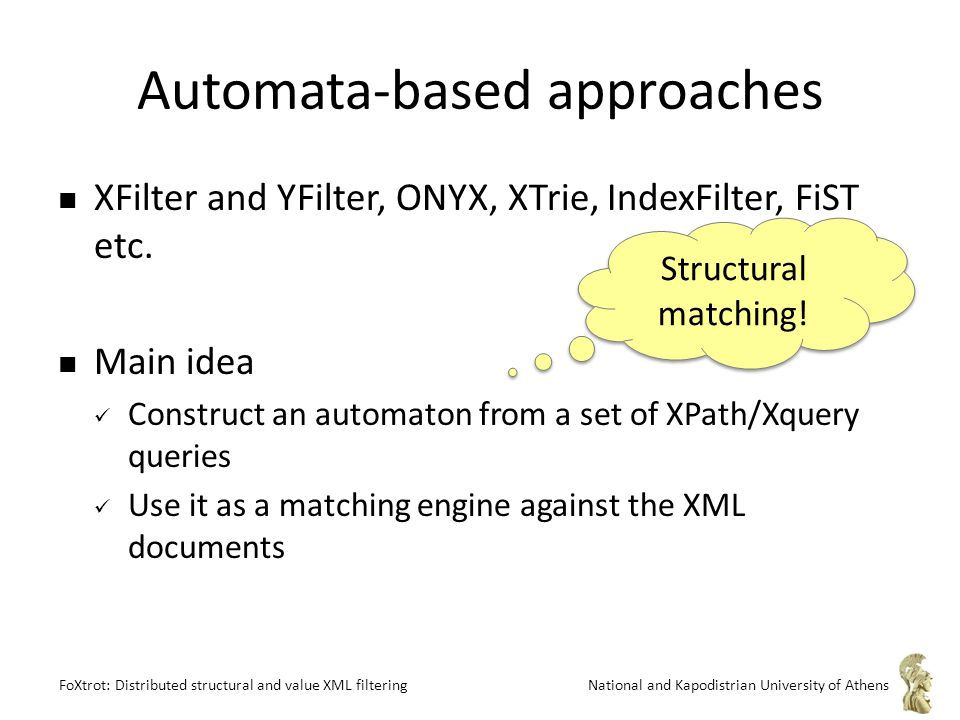FoXtrot: Distributed structural and value XML filteringNational and Kapodistrian University of Athens Automata-based approaches XFilter and YFilter, ONYX, XTrie, IndexFilter, FiST etc.