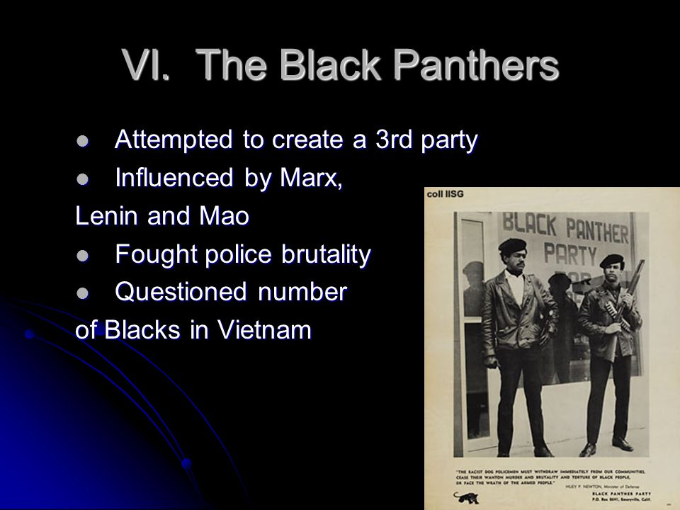 VI. The Black Panthers Attempted to create a 3rd party Attempted to create a 3rd party Influenced by Marx, Influenced by Marx, Lenin and Mao Fought po