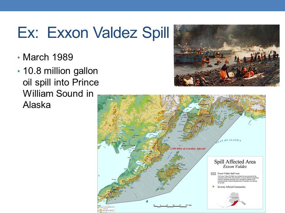 Ex: Exxon Valdez Spill March 1989 10.8 million gallon oil spill into Prince William Sound in Alaska