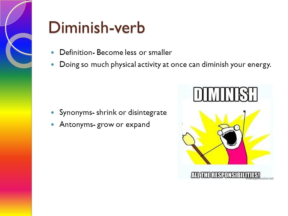 Diminish-verb Definition- Become less or smaller Doing so much physical activity at once can diminish your energy. Synonyms- shrink or disintegrate An
