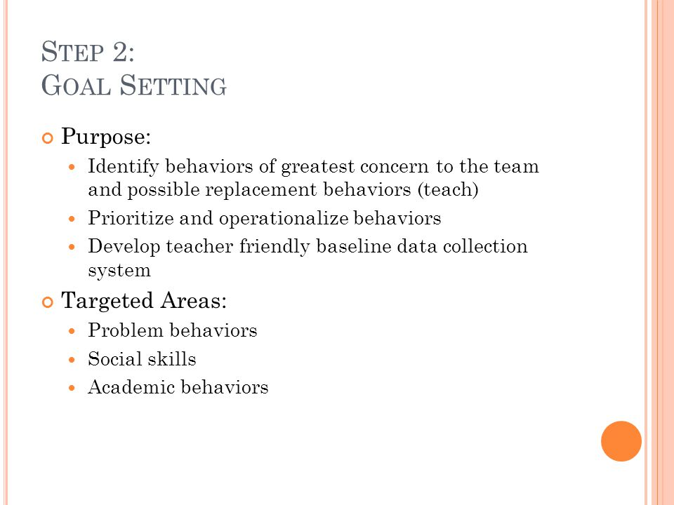 S TEP 2: G OAL S ETTING Purpose: Identify behaviors of greatest concern to the team and possible replacement behaviors (teach) Prioritize and operatio