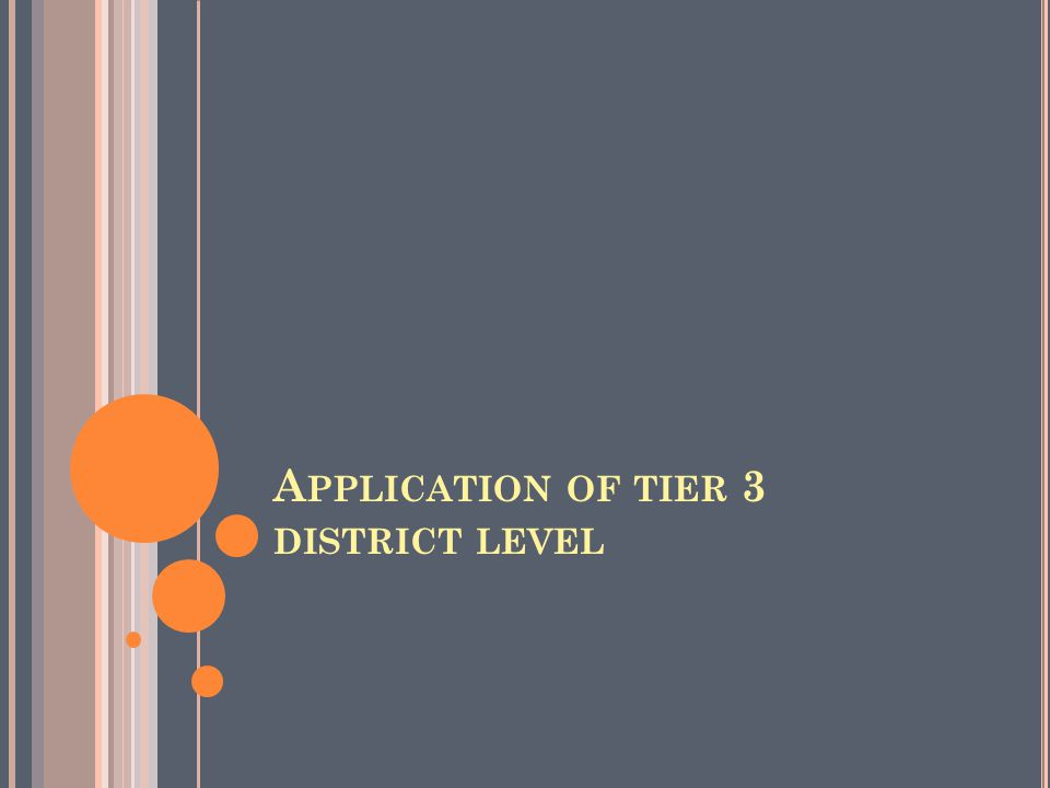 A PPLICATION OF TIER 3 DISTRICT LEVEL