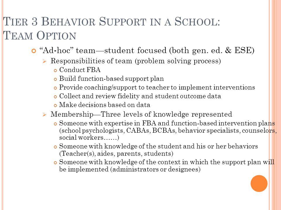 """T IER 3 B EHAVIOR S UPPORT IN A S CHOOL : T EAM O PTION """"Ad-hoc"""" team—student focused (both gen. ed. & ESE)  Responsibilities of team (problem solvin"""
