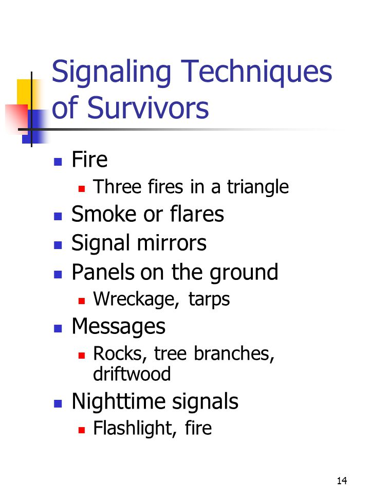 14 Signaling Techniques of Survivors Fire Three fires in a triangle Smoke or flares Signal mirrors Panels on the ground Wreckage, tarps Messages Rocks, tree branches, driftwood Nighttime signals Flashlight, fire