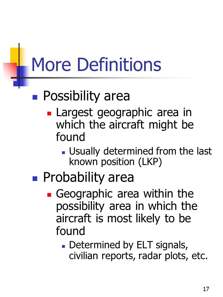 17 More Definitions Possibility area Largest geographic area in which the aircraft might be found Usually determined from the last known position (LKP) Probability area Geographic area within the possibility area in which the aircraft is most likely to be found Determined by ELT signals, civilian reports, radar plots, etc.