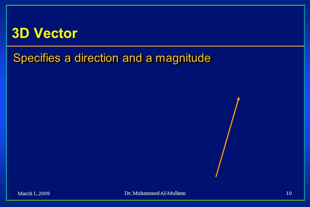 March 1, 2009 Dr. Muhammed Al-Mulhem10 3D Vector Specifies a direction and a magnitude