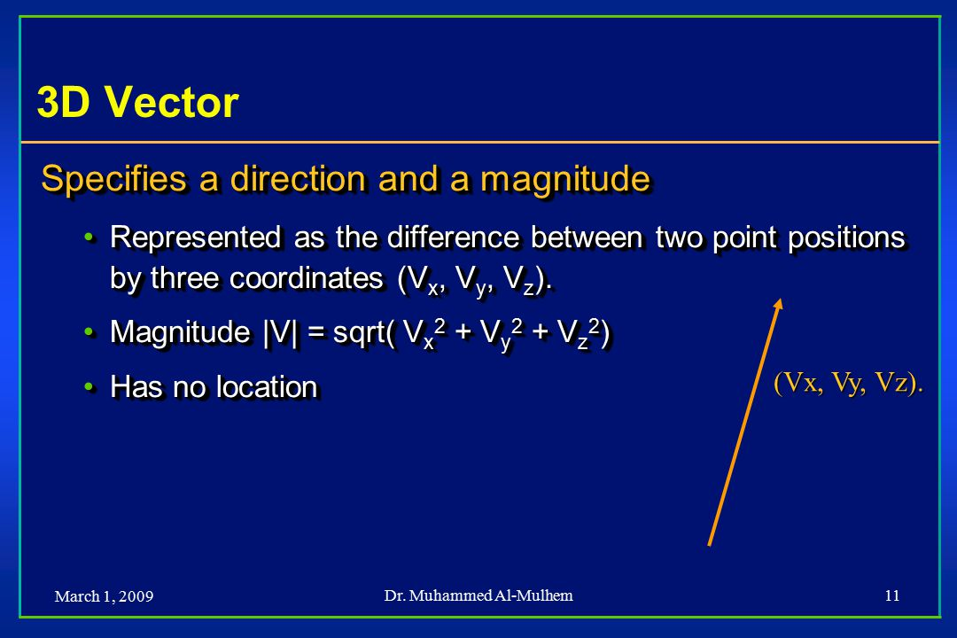 March 1, 2009 Dr. Muhammed Al-Mulhem11 3D Vector Specifies a direction and a magnitude Represented as the difference between two point positions by th