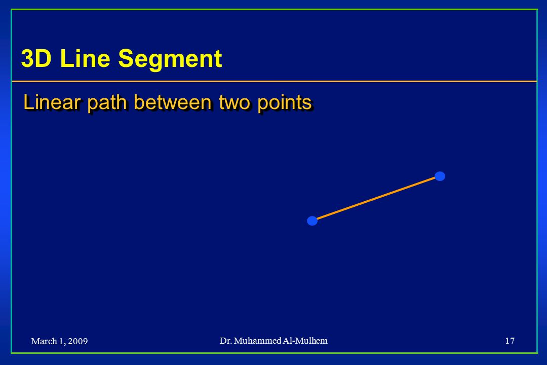 March 1, 2009 Dr. Muhammed Al-Mulhem17 3D Line Segment Linear path between two points