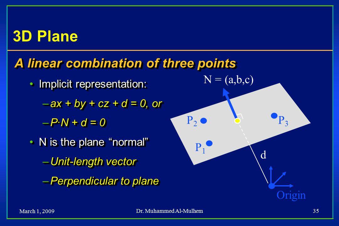 March 1, 2009 Dr. Muhammed Al-Mulhem35 Origin 3D Plane A linear combination of three points Implicit representation:Implicit representation: –ax + by