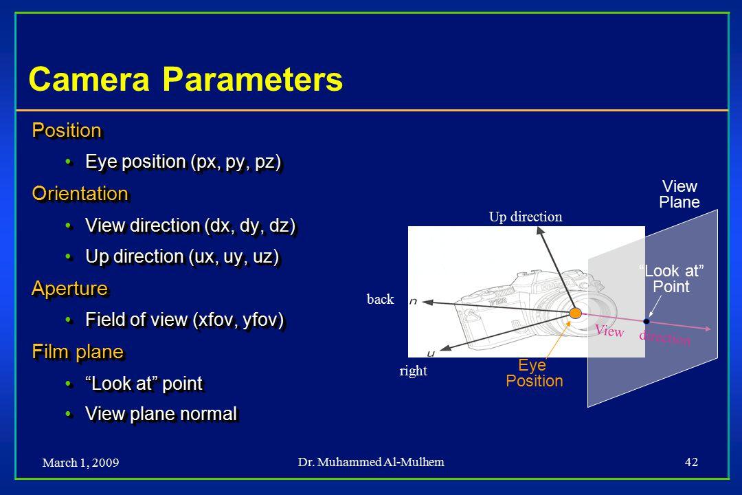 March 1, 2009 Dr. Muhammed Al-Mulhem42 Camera Parameters Position Eye position (px, py, pz)Eye position (px, py, pz)Orientation View direction (dx, dy