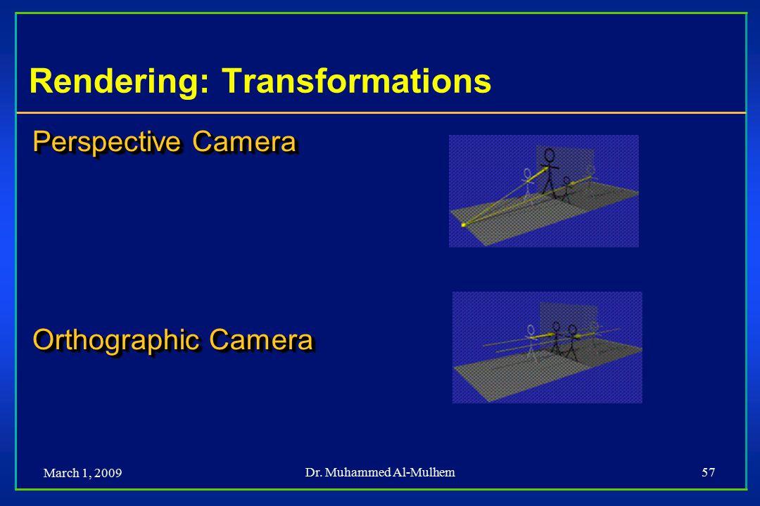 March 1, 2009 Dr. Muhammed Al-Mulhem57 Perspective Camera Orthographic Camera Perspective Camera Orthographic Camera Rendering: Transformations