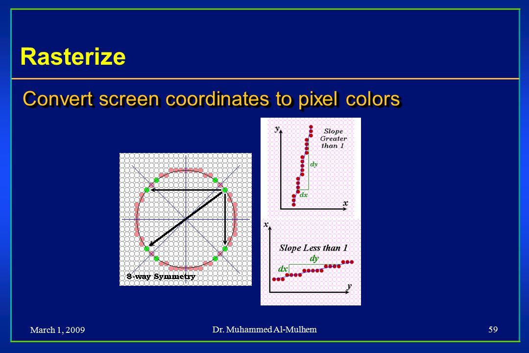 March 1, 2009 Dr. Muhammed Al-Mulhem59 Rasterize Convert screen coordinates to pixel colors