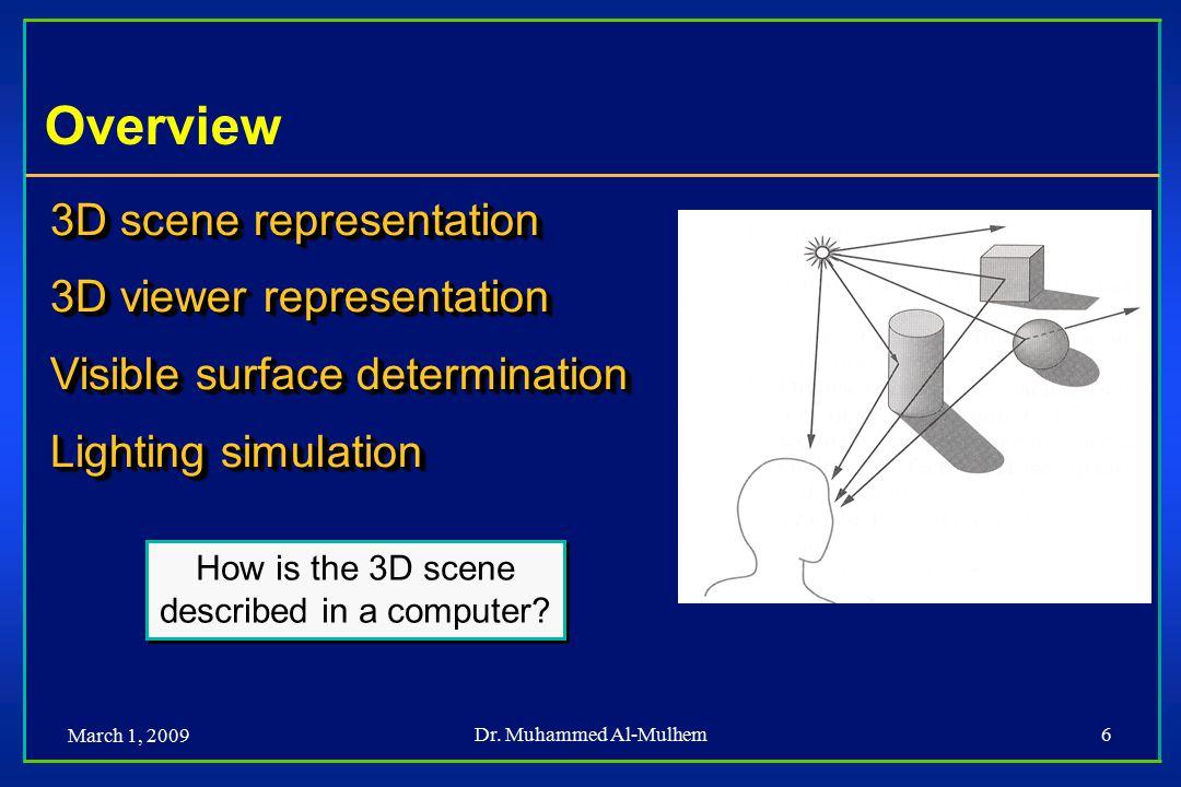 March 1, 2009 Dr. Muhammed Al-Mulhem6 Overview 3D scene representation 3D viewer representation Visible surface determination Lighting simulation 3D s