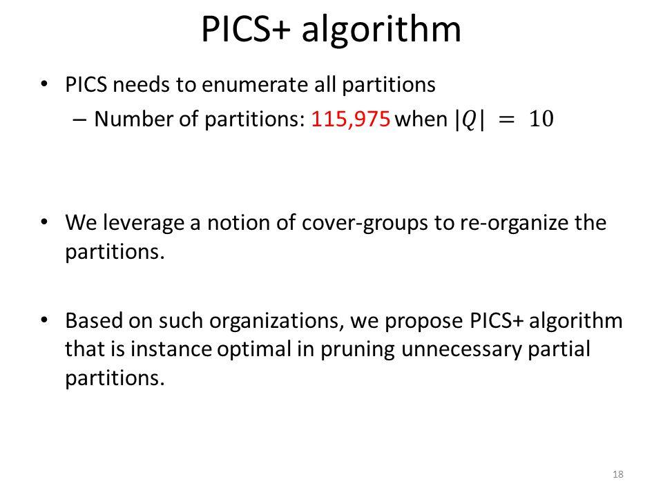 PICS+ algorithm 18