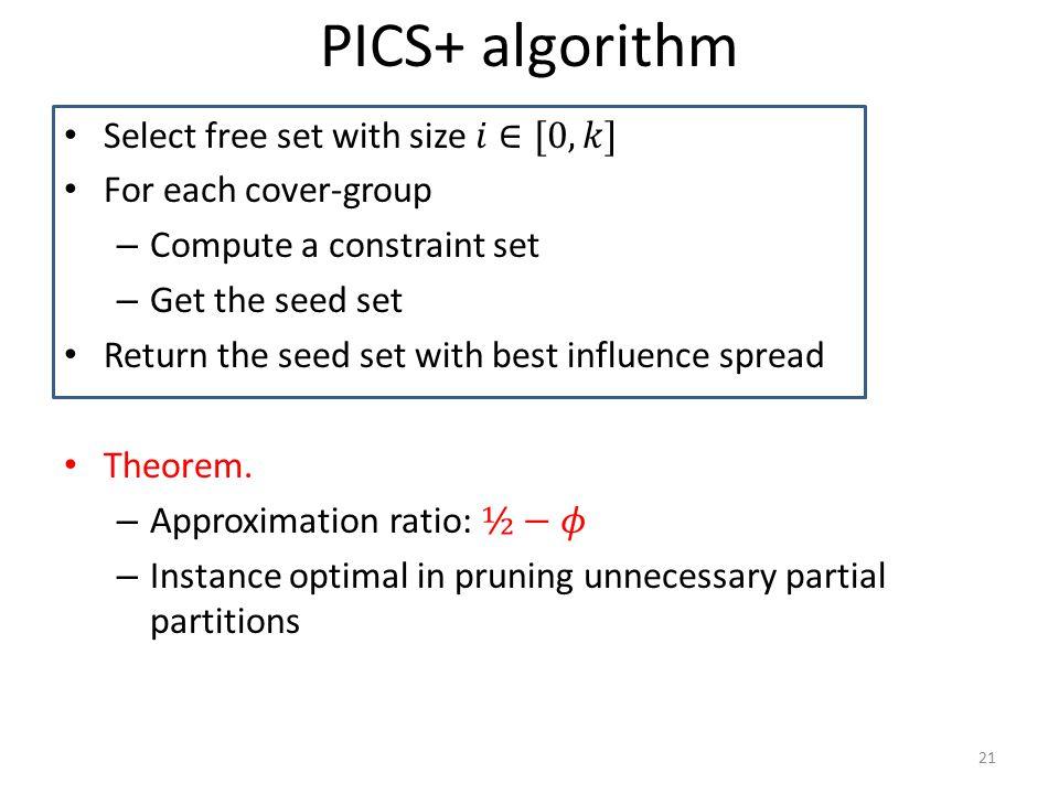 PICS+ algorithm 21