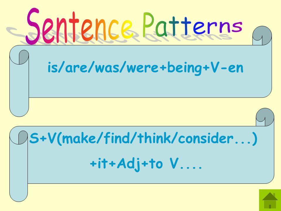 is/are/was/were+being+V-en S+V(make/find/think/consider...) +it+Adj+to V....