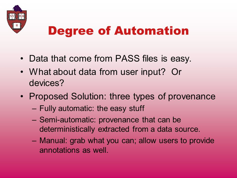 Degree of Automation Data that come from PASS files is easy.