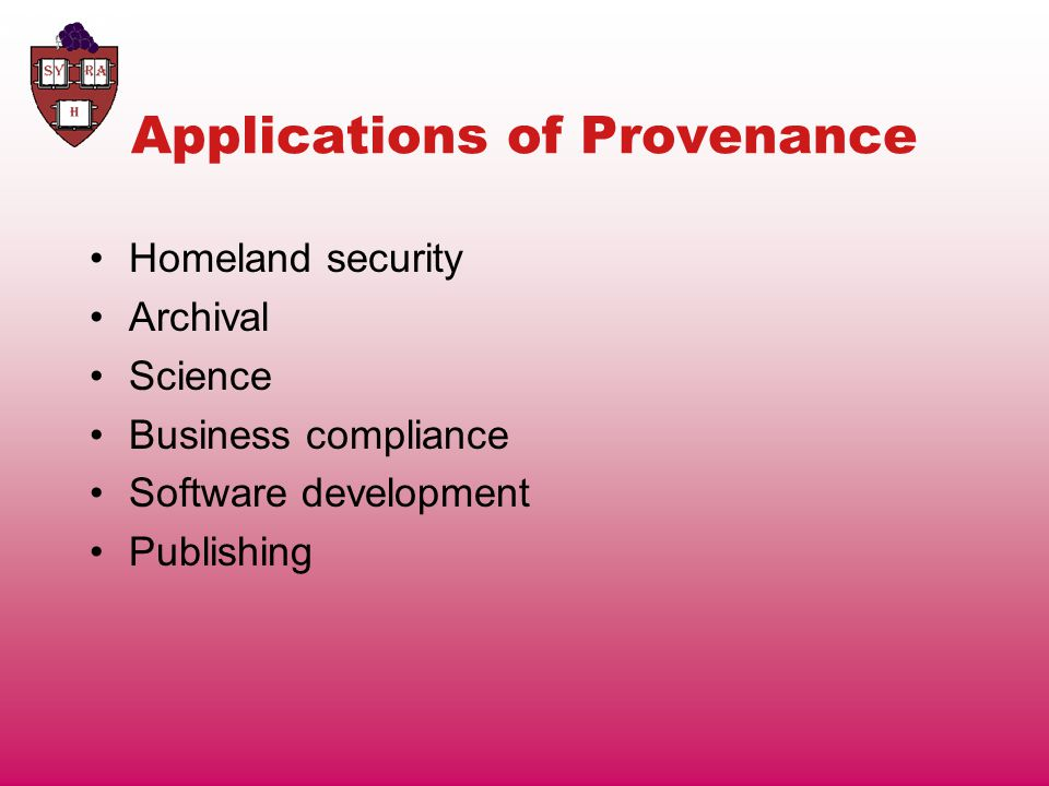 The State of Provenance Today Most provenance is entered manually.