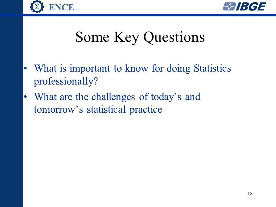 ENCE 18 Some Key Questions What is important to know for doing Statistics professionally.
