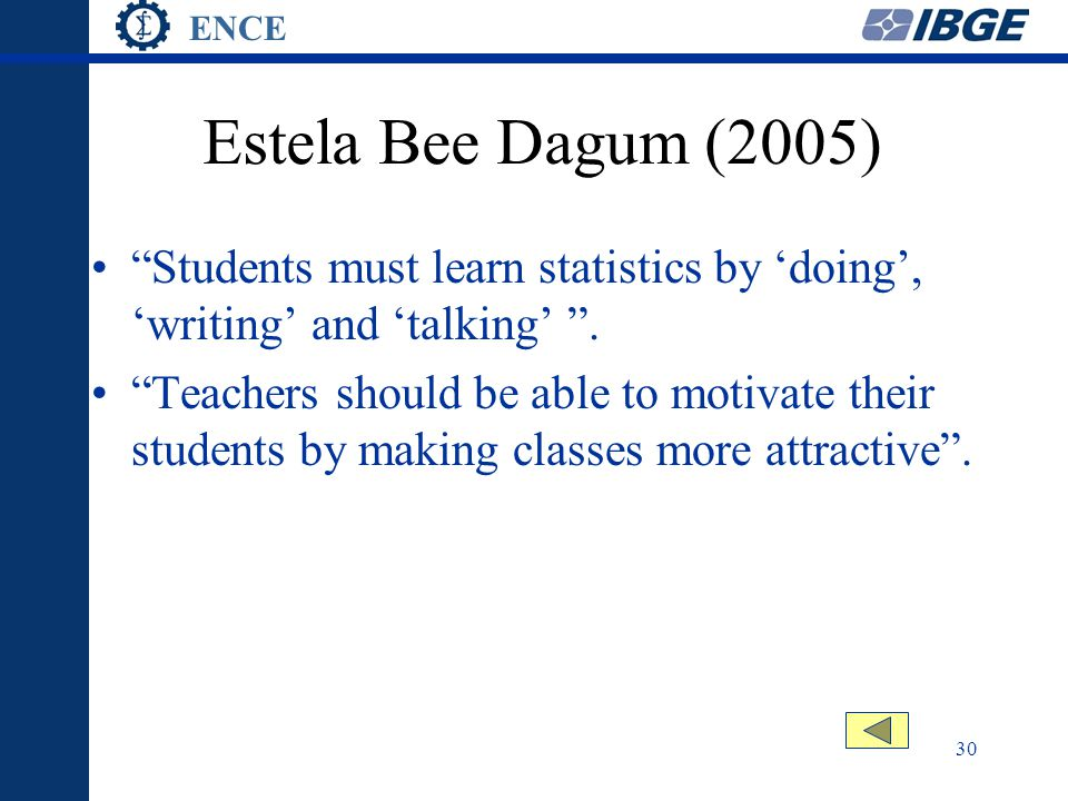 ENCE 30 Estela Bee Dagum (2005) Students must learn statistics by 'doing', 'writing' and 'talking' .