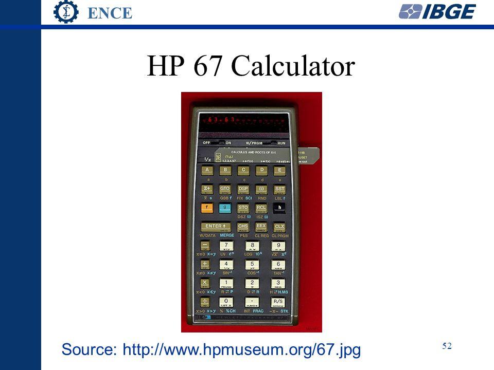 ENCE 52 HP 67 Calculator Source: http://www.hpmuseum.org/67.jpg