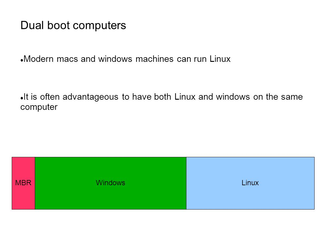 Dual boot computers Modern macs and windows machines can run Linux It is often advantageous to have both Linux and windows on the same computer LinuxMBRWindows