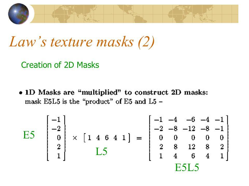 18 Law's texture masks (2) Creation of 2D Masks E5 L5 E5L5