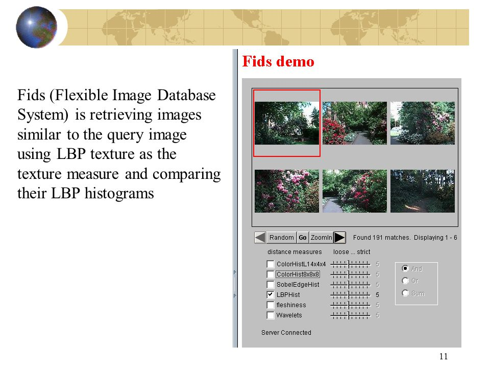 11 Fids (Flexible Image Database System) is retrieving images similar to the query image using LBP texture as the texture measure and comparing their LBP histograms
