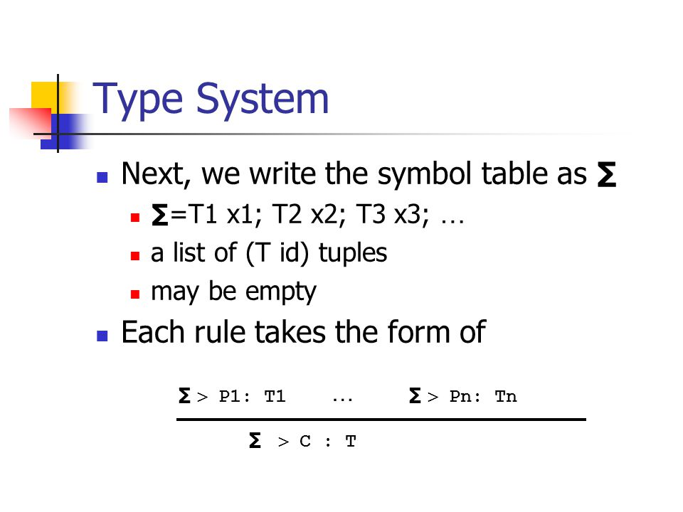 Type System Next, we write the symbol table as ∑ ∑=T1 x1; T2 x2; T3 x3; … a list of (T id) tuples may be empty Each rule takes the form of ∑  P1: T1