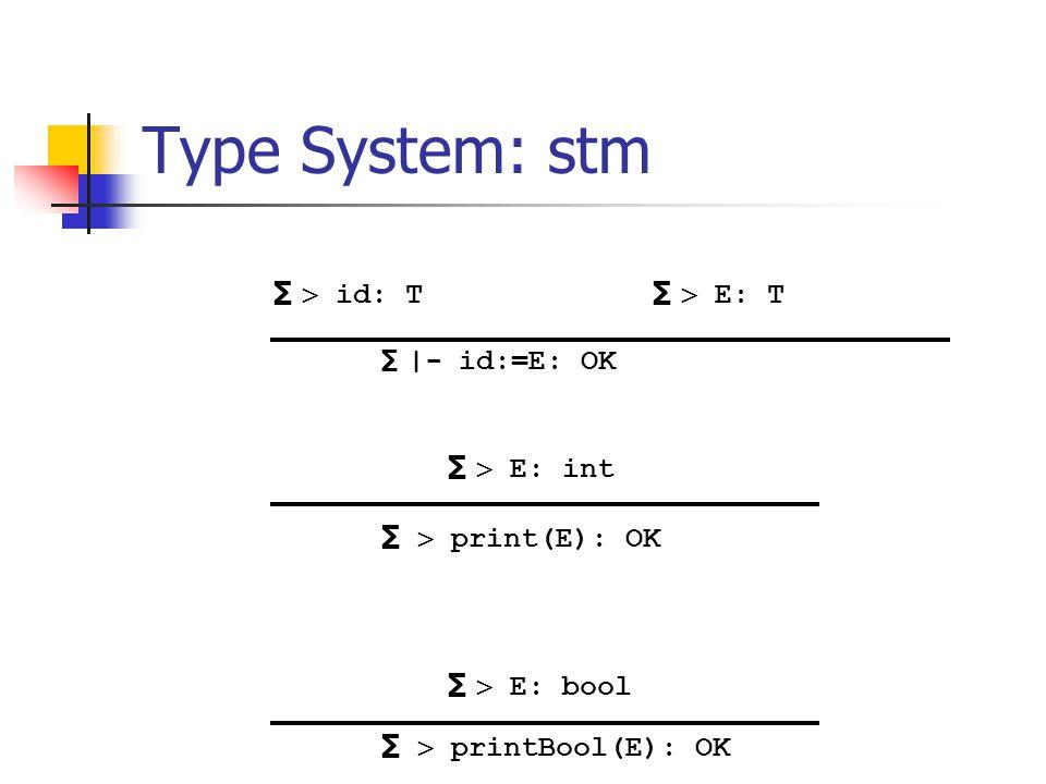 Type System: stm ∑  E: bool ∑   printBool(E): OK ∑  E: int ∑   print(E): OK ∑  id: T ∑   - id:=E: OK ∑  E: T